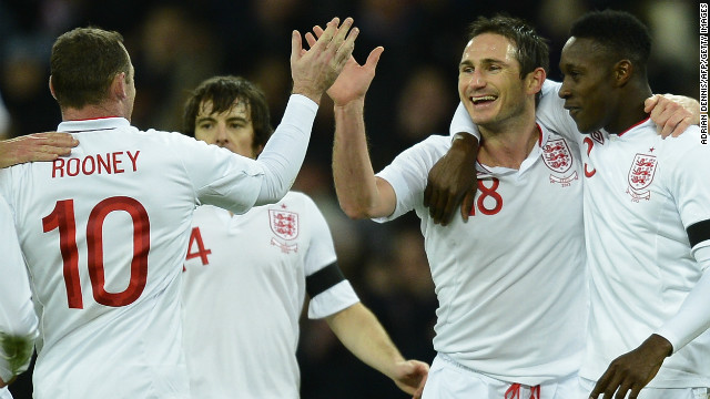 England's Frank Lampard celebrates his goal during the 2-1 win over Brazil at Wembley, London.