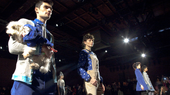 Billed as the first all vegan fashion label to present at New York Fashion Week, Vaute Couture held a solo show on Wednesday. Models took to the risers holding rescue dogs available for adoption.