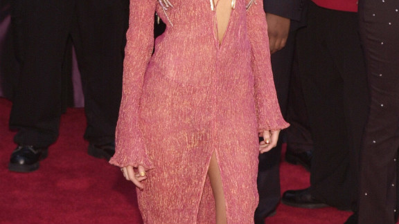In 2001, Christina Aguilera wore a clevage-baring dress with her hair in braids.