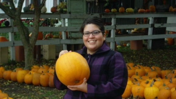 """Every year Garcia goes to a pumpkin patch with Monreal to celebrate their anniversary. This photo was taken during their 2009 visit. """"I love fall and the month of October,"""" she says."""