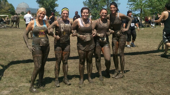 """Garcia and her sorority sisters recently completed a 5K obstacle course in Chicago. """"It was so fun,"""" Garcia says. """"I love that my friends finally embrace my weight loss and my new love for outdoor activities."""""""