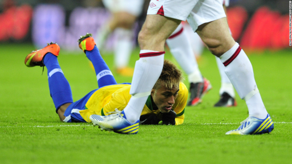 Neymar is the star of the current Brazil team. The Santos playmaker also endured a frustrating match, failing to breakdown England's stubborn defence.