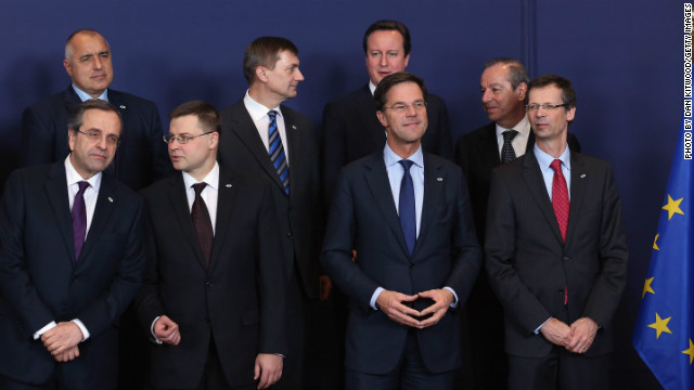 Prime ministers from various European countries pose together at the European Council Meeting on Thursday in Brussels.