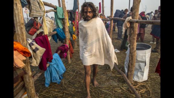 A Sadhu makes his way toward the banks of Sangam on January 15.