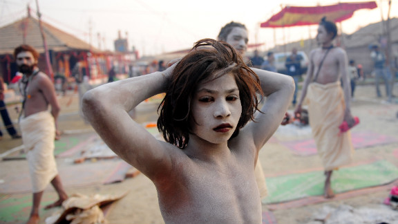 A Naga Sadhu reflects after performing evening rituals at the Akhara camp on January 29.