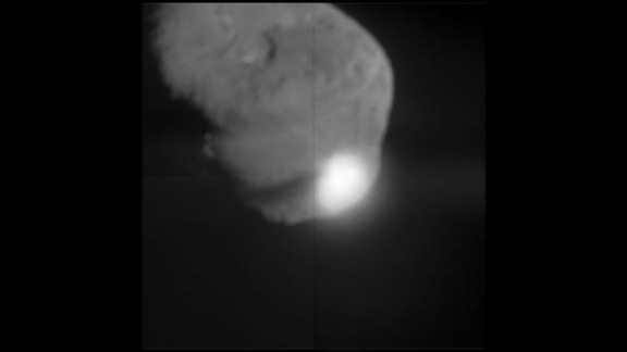 """On July 3, 2005, NASA's Deep Impact fly-by spacecraft dropped its """"impactor"""" probe into the path of Comet Tempel 1. There was a bright flash as the probe hit the comet. The images were beamed around the world in near real time on NASA TV and over the Internet. Orbiting telescopes watched from space and astronomers on the ground captured images, too."""