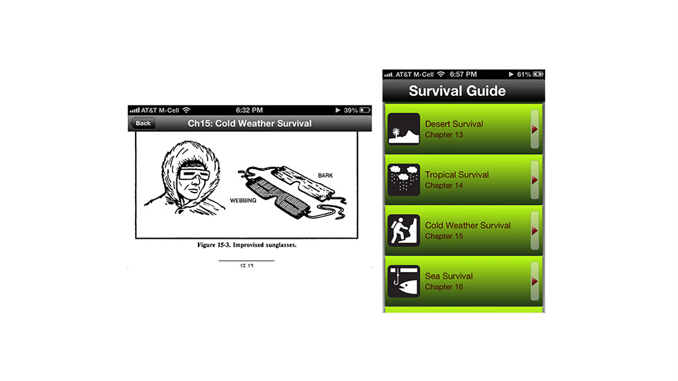 "Hopefully you won't need any of the tips in this free iOS app, which is based on a U.S. military survival guide. <a href=""https://itunes.apple.com/us/app/survival-guide/id407204621?mt=8"" target=""_blank"">Survival Guide </a>has an entire chapter on handling harsh winter weather, and tips starting a fire and catching your own food."
