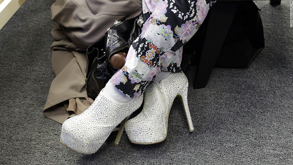 A visitor sports eye-catching shoes at the Lincoln Center on February 8.