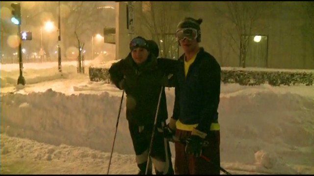 Streets left to skiers in Boston snow