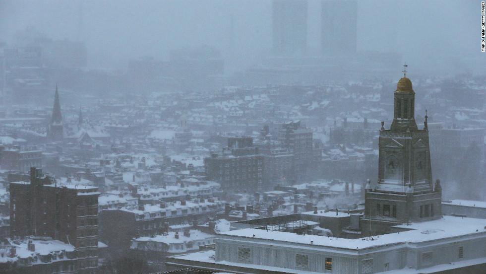 Snow blankets Boston on February 9.