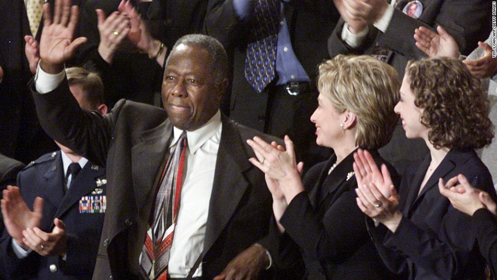 Baseball legend Hank Aaron was honored at President Bill Clinton's State of the Union in 2000.