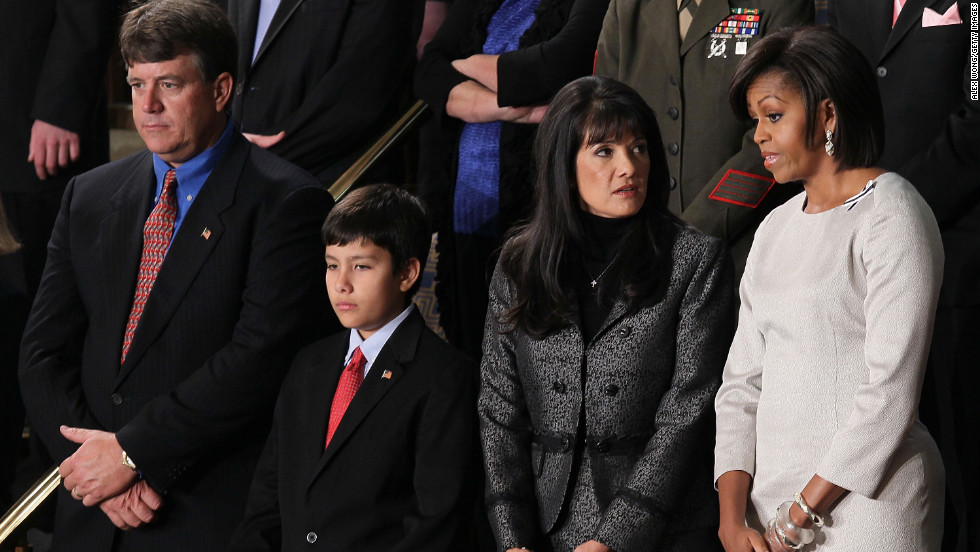 From left, John, Dallas and Roxanna Green were Obama's guests at the 2011 State of the Union. They are the family of the late Christina Taylor Green, who was killed in Arizona by the gunman who shot then-Rep. Gabrielle Giffords.