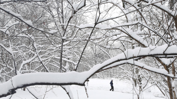 A man walks through snowy Central Park in New York.