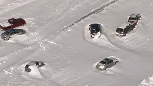 Cars stuck in snow on Long Island