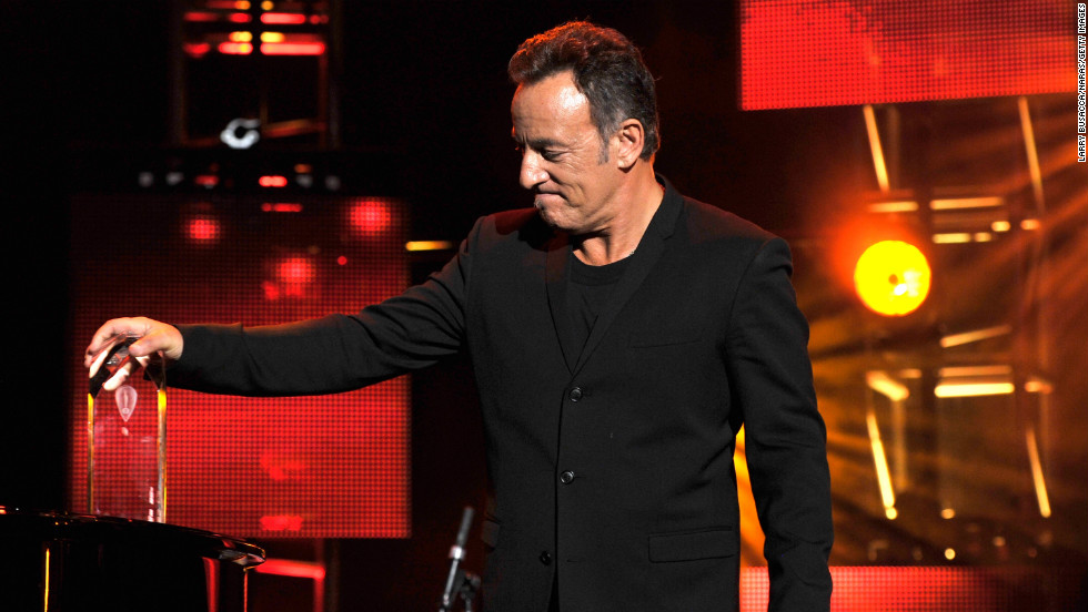 Springsteen pauses during his acceptance speech.