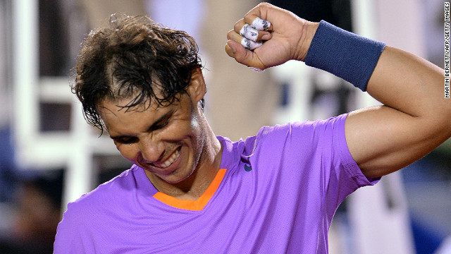Spanish tennis star Rafael Nadal celebrates his victory over France's Jeremy Chardy in Saturday's singles semifinal.