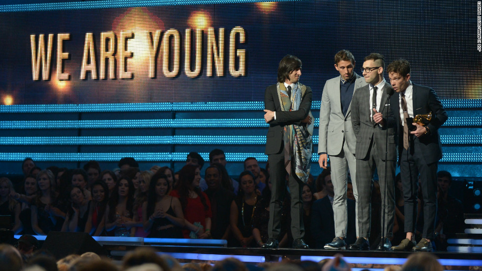"Nominated for six Grammys, Fun. picked up the best new artist award as well as the song of the year honor for ""We Are Young."" Nate Ruess, Andrew Dost and Jack Antonoff also performed their single ""Carry On"" earlier in the show."