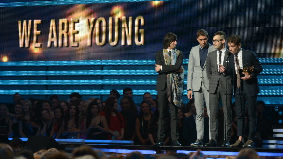 """Nominated for six Grammys, Fun. picked up the best new artist award as well as the song of the year honor for """"We Are Young."""" Nate Ruess, Andrew Dost and Jack Antonoff also performed their single """"Carry On"""" earlier in the show."""