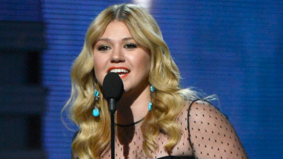 """Kelly Clarkson won best pop vocal album for """"Stronger."""" """"I get nervous speaking in front of people,"""" she said accepting her Grammy. """"Miguel, I don't know who the hell you are, but we need to sing together."""" This is Clarkson's third Grammy."""