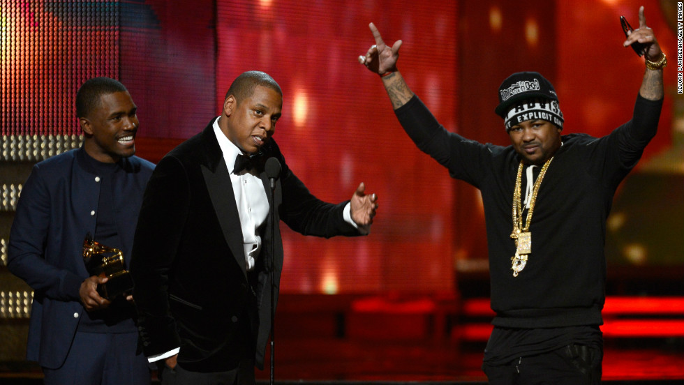 "The Grammy for best rap/sung collaboration was awarded to Kanye West (who wasn't present), Jay-Z, Frank Ocean and The Dream for ""No Church in the Wild."""