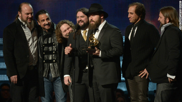 "Members of the Zac Brown Band pick up a Grammy in 2013 for best country album, ""Uncaged."""