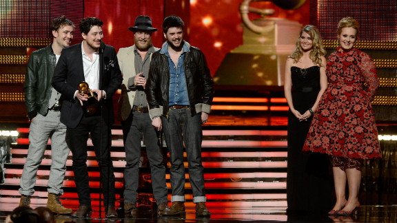 """Thanks to their second studio album, """"Babel,"""" Mumford & Sons took home the Grammy for album of the year at the 55th annual Grammy Awards on Sunday, February 10, in Los Angeles. This is the band's second Grammy award."""