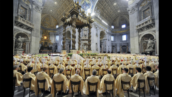 Benedict celebrates a Mass at the end of a synod of Catholic bishops in October 2008 at St. Peter's Basilica at the Vatican.