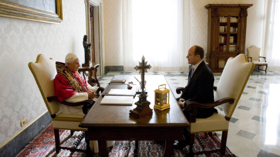 Benedict meets Prince Albert II of Monaco at the pope's private library  in Vatican City in December 2005.