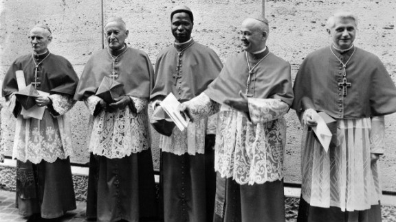 Cardinal Joseph Ratzinger, right, poses for a picture in Vatican City in June 1977 with fellow cardinals, from left, Cardinal  Gappi, Cardinal Tomazek, Cardinal Gantin and Cardinal Benelli. Ratzinger was named cardinal-priest of Santa Maria Consolatrice al Tiburtino by Pope Paul VI in June 1977.