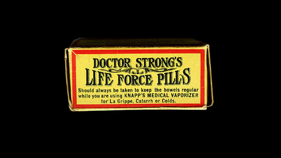 "These ""life force pills"" were made in 1905. According to its manufacturer, they ""will positively cure biliousness and bilious headache, constipation, sick and nervous headache, torpid liver, nausea, jaundice, general debility, indigestion, malaria, fever and ague, sluggish bowels, dizziness, cramps, loss of appetite, sour stomach, sallow skin, and are an invaluable aid in curing piles, colds, and"