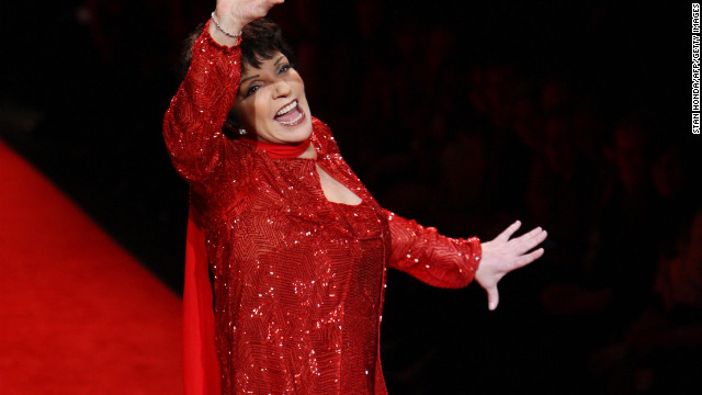 Entertainer Liza Minnelli presents an outfit during The Heart Truth's Red Dress Collection show 01 February 2008 at the Mercedes-Benz Fashion Week in New York. The annual Red Dress fashion show raises awareness about heart disease in women.