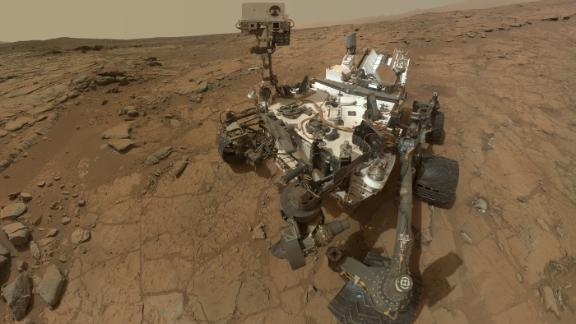 NASA has sent a series of sophisticated rovers to explore the surface of Mars. This is a selfie of Curiosity on the Red Planet.
