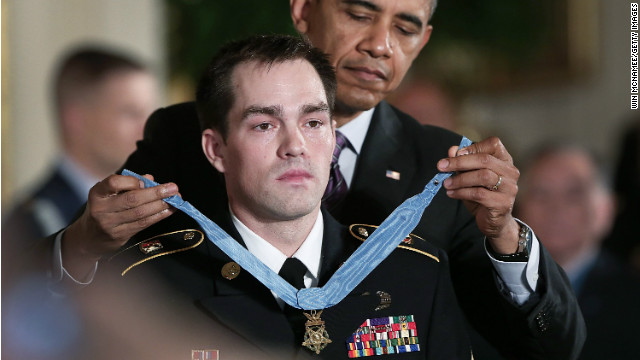 Former Staff Sgt. Clint Romesha is awarded the Medal of Honor by President Obama Monday.