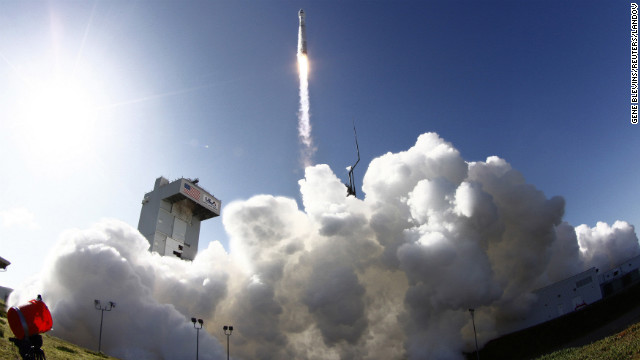 An Atlas-V rocket carrying a Landsat satellite lifts off Monday at Vandenberg Air Force Base, California.