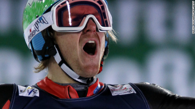 Ted Ligety celebrates his second gold medal of the world skiing championships after victory in the super combined.