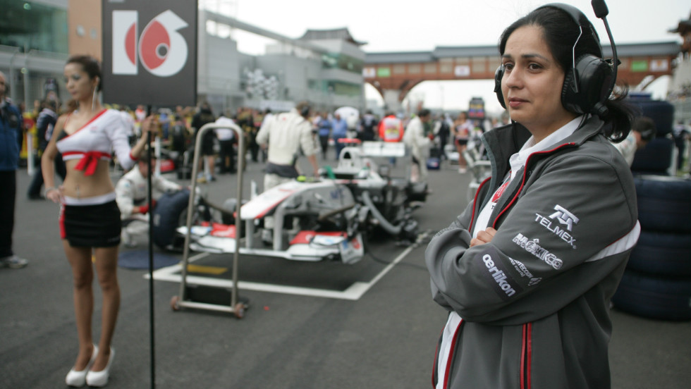 "Kaltenborn said she is not disturbed by the use of ""grid girls"", seen here at the 2011 Korean Grand Prix, in Formula 1. ""I think girls are prettier to look at than if you had men in those roles,"" she said."