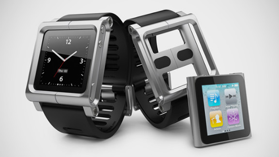 """Apple's sixth-generation iPod nano was a small, square touchscreen (it has since been replaced by the rectangular seventh-generation nano). Many fans immediately saw the potential to turn the iPod into a watch face, and companies such as <a href=""""http://www.lunatik.com"""" target=""""_blank"""" target=""""_blank"""">Lunatik</a> make kits that included mounts and slick straps."""