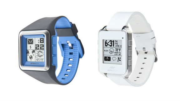 The MetaWatch has a retro-looking, black-and-white screen, but it can connect to the iPhone 4s and iPhone 5, in addition to Android devices. It's also a water-resistant sports watch that tracks pace and distance. The watch starts at $179 and is available with various colored bands or in black or white leather.