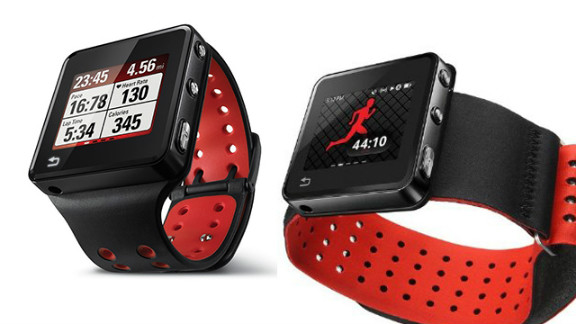 """The $269 <a href=""""http://www.motorola.com/us/consumers/8GB-or-16GB-MOTOACTV/79070,en_US,pd.html?selectedTab=tab-1&cgid=fitness-devices#tab"""" target=""""_blank"""" target=""""_blank"""">Motoactv</a> smart watch is marketed as a fitness tracker. It acts as a heart-rate monitor and pedometer, has GPS and an MP3 player. There are also a number of nonwrist mount options, including a handlebar strap, arm band and chest strap."""
