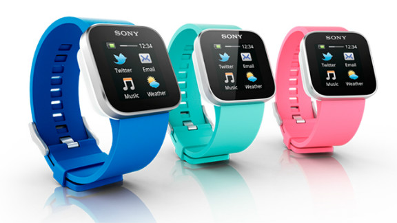 """Another full color touchscreen device, the $130 <a href=""""http://www.sonymobile.com/us/products/accessories/smartwatch/features/"""" target=""""_blank"""" target=""""_blank"""">Sony SmartWatch</a>, also only syncs with Android devices. When paired with a phone over Bluetooth, it can receive notifications for e-mail, texts, social networks and calendars."""