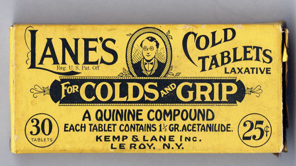 "The packaging says: ""Successfully used in the treatment of colds, grip, headache and as a gentle laxative for the bowels."" It was made sometime after 1927."