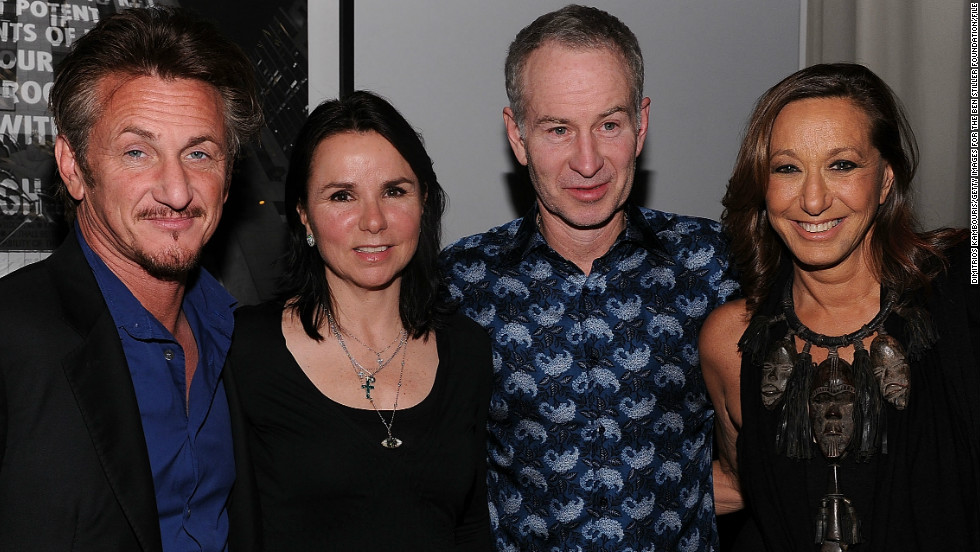 """Sean Penn. He played high school tennis and we seem to be cut from the same cloth.""  The actor, far left, is pictured with McEnroe, the tennis star's wife Patty Smyth (2nd left) and Donna Karan at a Haiti relief fundraiser in 2011."