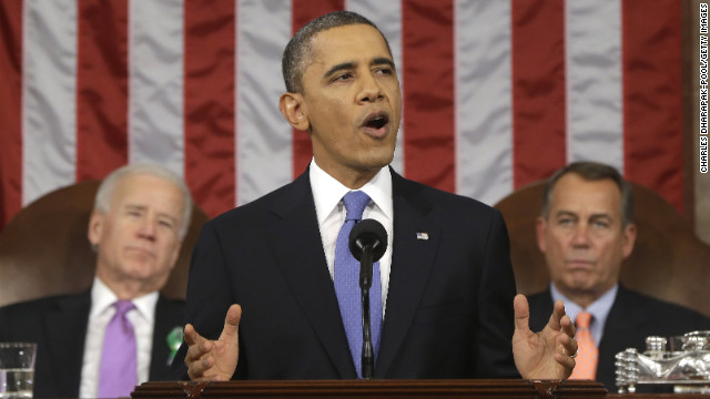 WASHINGTON, DC - FEBRUARY 12:  U.S. President Barack Obama, flanked by Vice President Joe Biden and House Speaker John Boehner (R-OH), gestures as State of the Union address during a jointhe gives his session of Congress on Capitol Hill on February 12, 2013 in Washington, D.C. Facing a divided Congress, Obama focused his speech on new initiatives designed to stimulate the U.S. economy. (Photo by Charles Dharapak-Pool/Getty Images)