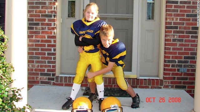 Caroline's older brother, George, 14, inspired her to become a football player when she was 5.