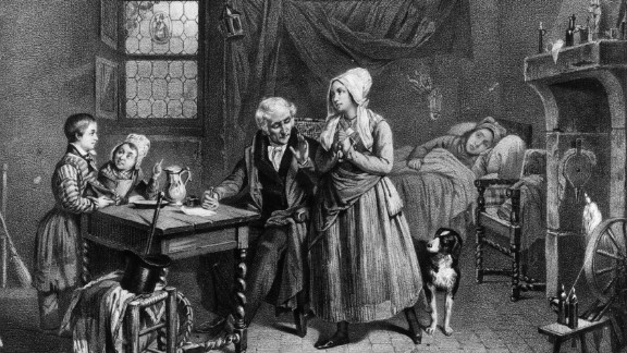 "In this illustration from about 1830, a doctor provides a vial of medicine for a sick woman. Medical treatments in the 19th and early 20th centuries looked a lot different than ones we see marketed today. From ""magic"" treatments to retro spectacles, check out some of these products sold in the United States 100 years ago or more. They are kept at the Smithsonian"