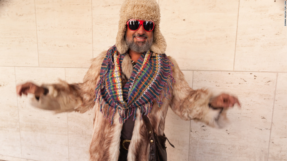 Another guest shows off his inherited antique coyote fur coat on February 8.
