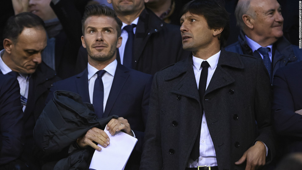 Beckham watched PSG's win at Valencia alongside the club's sporting director Leonardo. The pair looked on as their side edged out Valencia 2-1 in the first leg thanks to goals from Ezequiel Lavezzi and Javier Pastore, before Zlatan Ibrahimovic was sent off late on. The Swede will miss the second leg in the French capital on March 6.