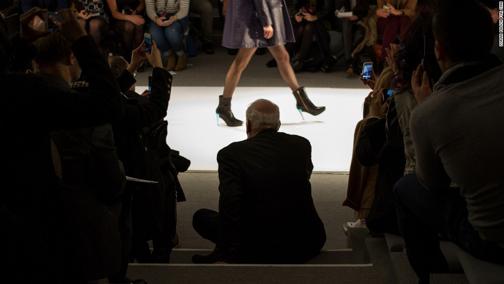 A security guard rests at the bottom of the stairs at the Nanette Lepore show during New York Fashion Week on Wednesday, February 13. Photographer Zoran Milich has been capturing the scene at Fashion Week for CNN as designers showcase their fall and winter 2013 collections through February 14.