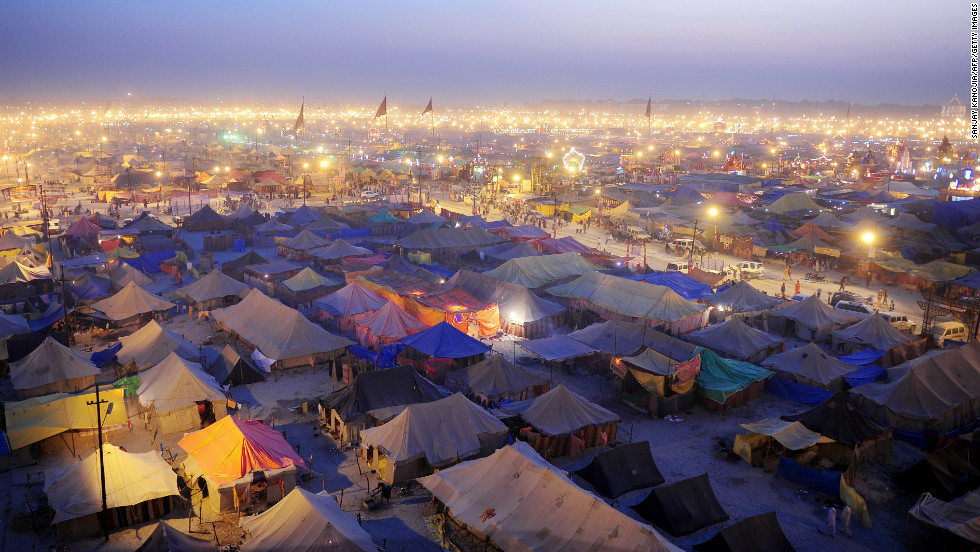 Temporary tents for devotees fill Sangamat at dusk during the Kumbh Mela festival in Allahabad, India, on Wednesday, February 13.