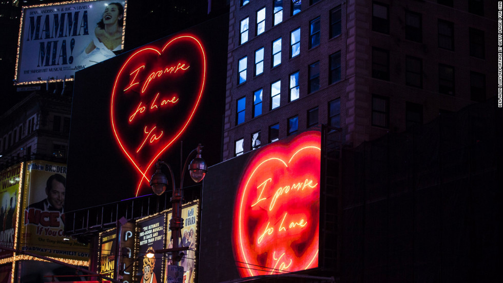 British artist Tracey Emin is known for pushing the boundaries, and her latest project is no exception. A series of Emin's valentines are currently being shown every night amidst the bright lights of New York's Time Square.